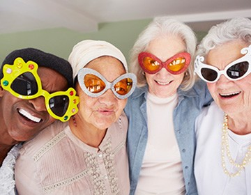 Elderly women with funny sunglasses