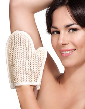 Woman and Exfoliating Glove