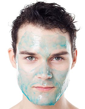 Man's face with chemical exfoliants
